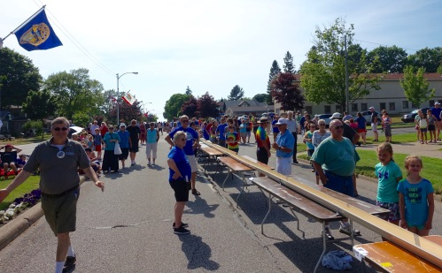 Gutter stretched between tables at Ludington's World's Largest Sundae Attempt