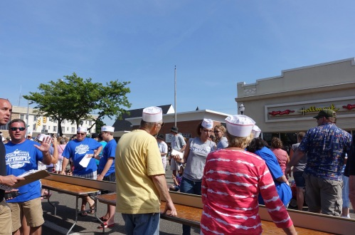 Hats and Preparations at Ludington's World's Largest Sundae Attempt