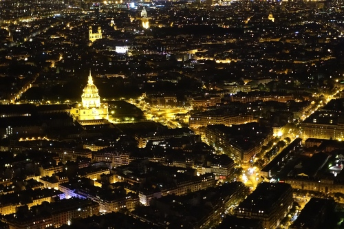 Hôtel national des Invalides at night as seen from the Eiffel Tower