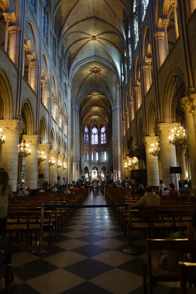 Inside the Cathedral of Notre Dame in Paris, France