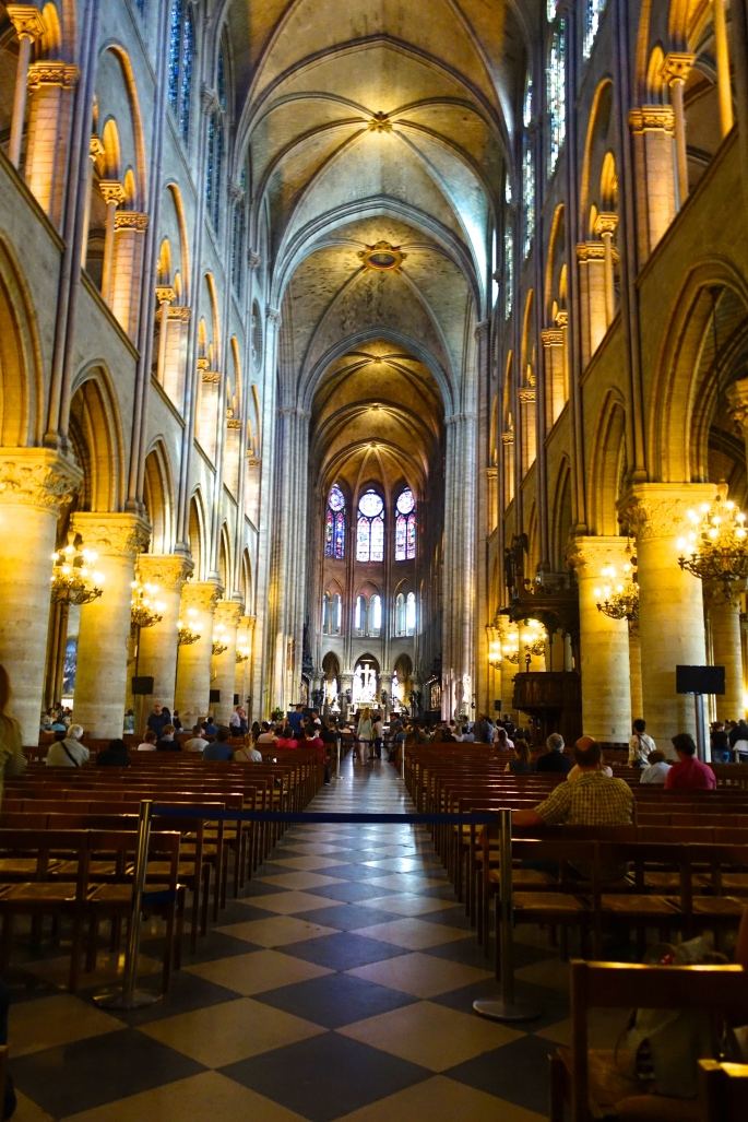 Interior View of Notre Dame Cathedral. Paris