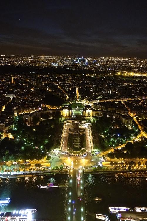Jardins du Trocadéro and Palais de Chaillot at Night from Eiffel Tower