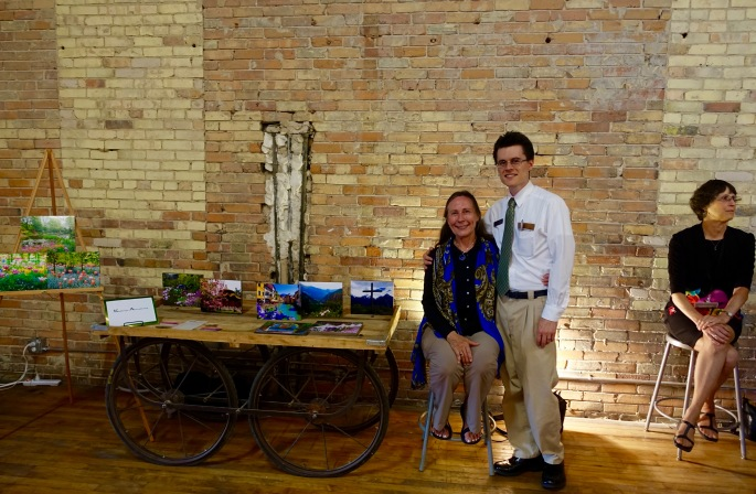 Kathi Armstrong with son Daniel Armstrong at ArtFeast
