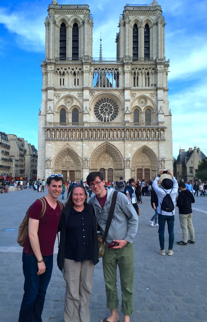 Kathi, Stephen and Joel at Notre Dame Cathedral. Paris