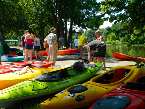 Kayaks on Rogue River MI