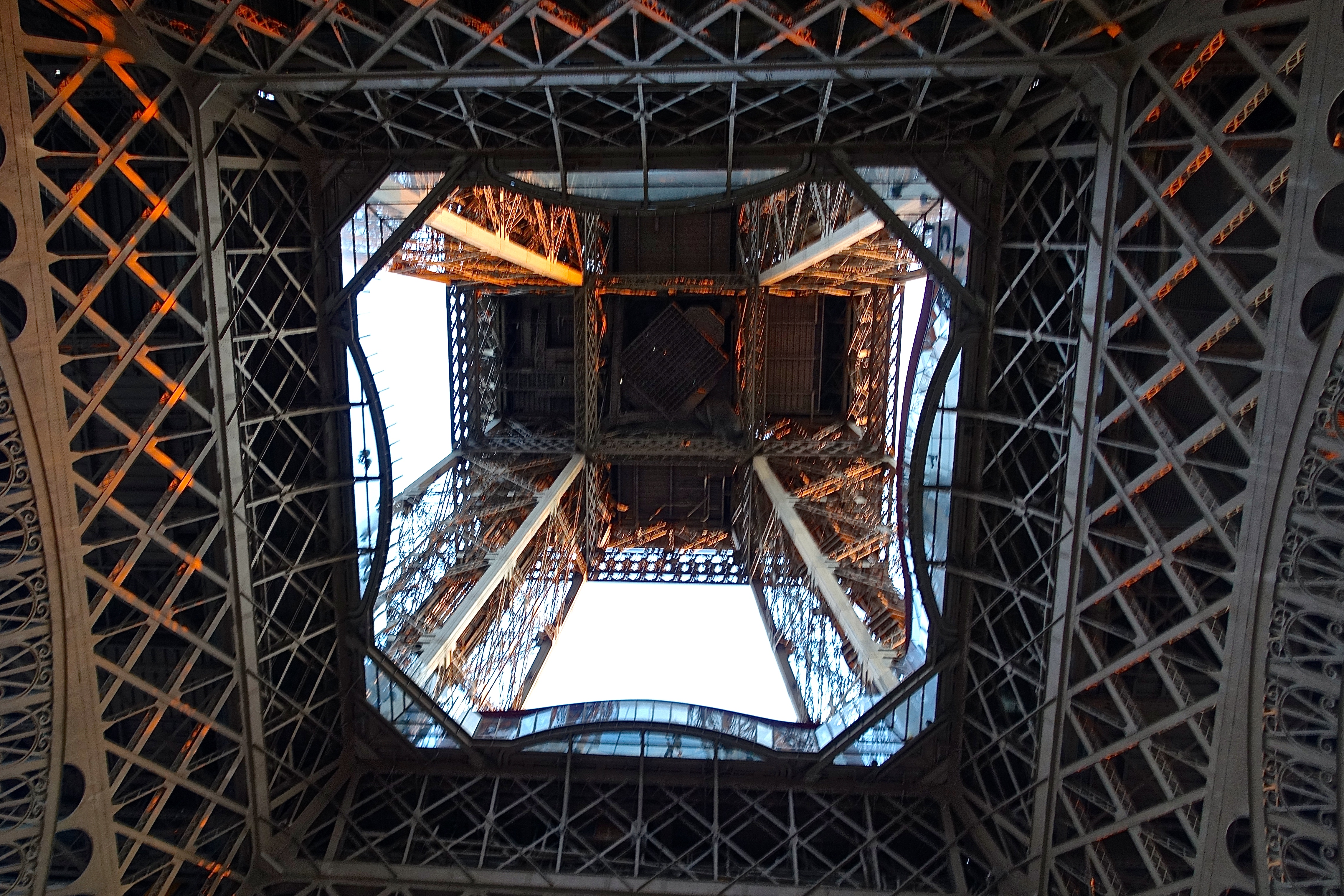 Looking Up Inside the Eiffel Tower