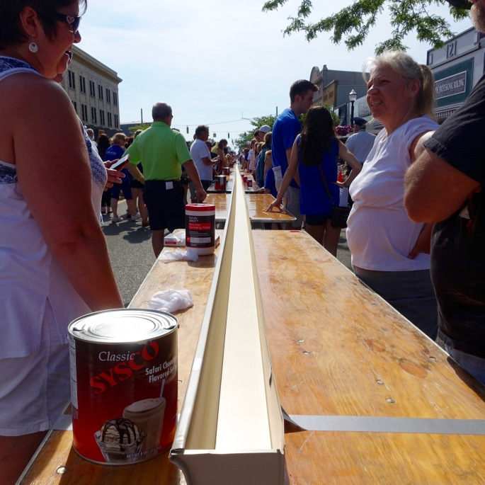 One end of the trough at Ludington's World's Largest Sundae Attempt