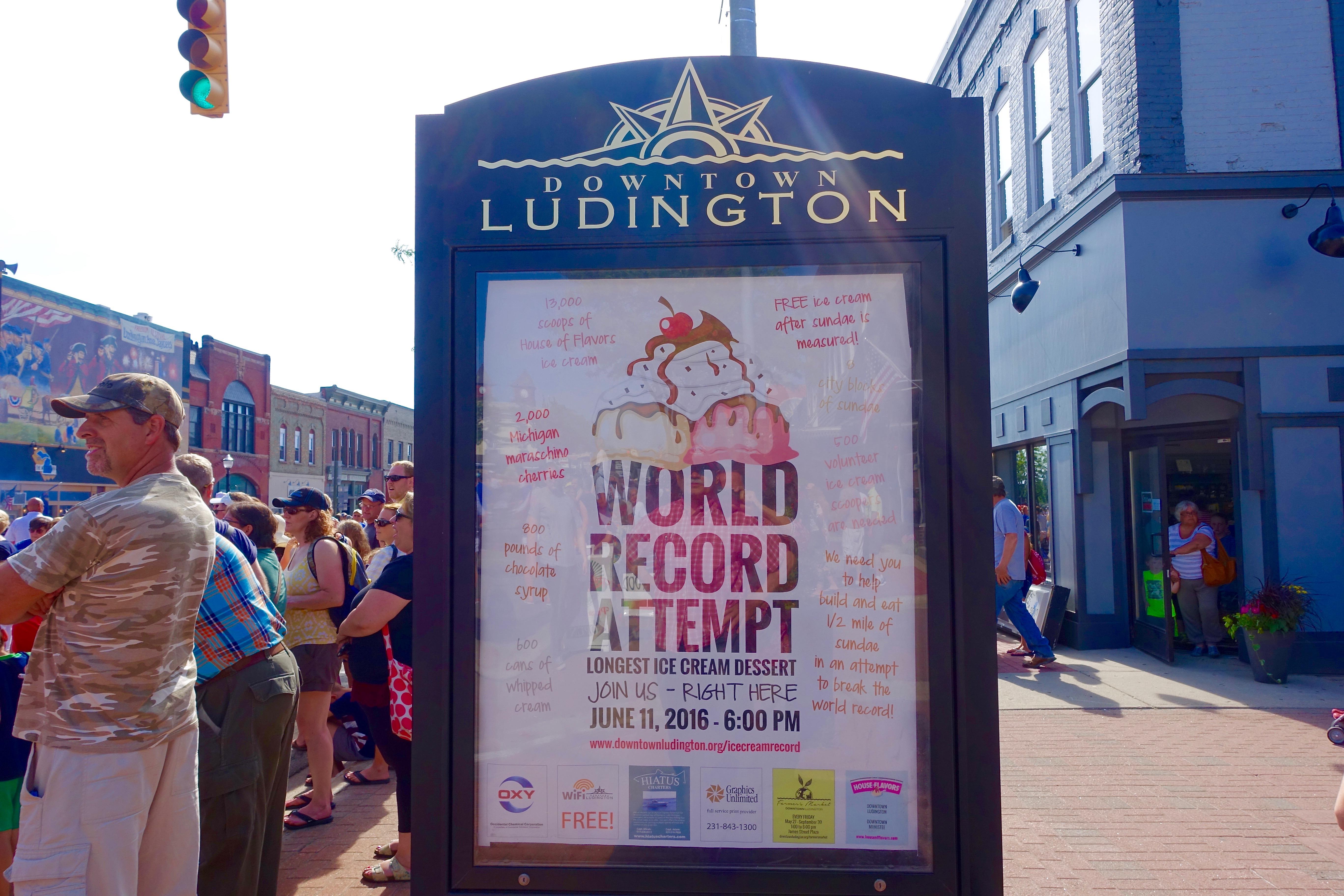 Poster advertising at Ludington's World's Largest Sundae Attempt