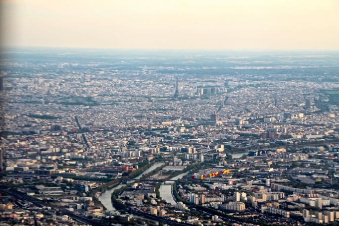 River Seine and Paris from air