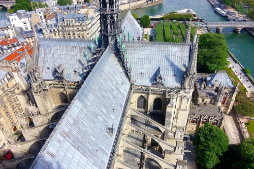 Roofline Notre Dame Cathedral. Paris