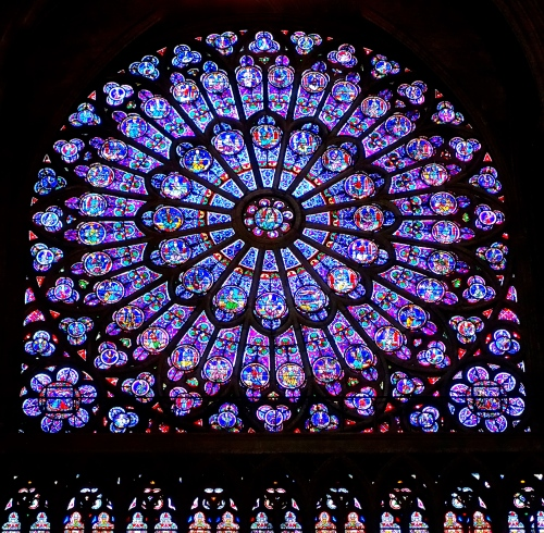 Rose Window in Notre Dame. Paris, France