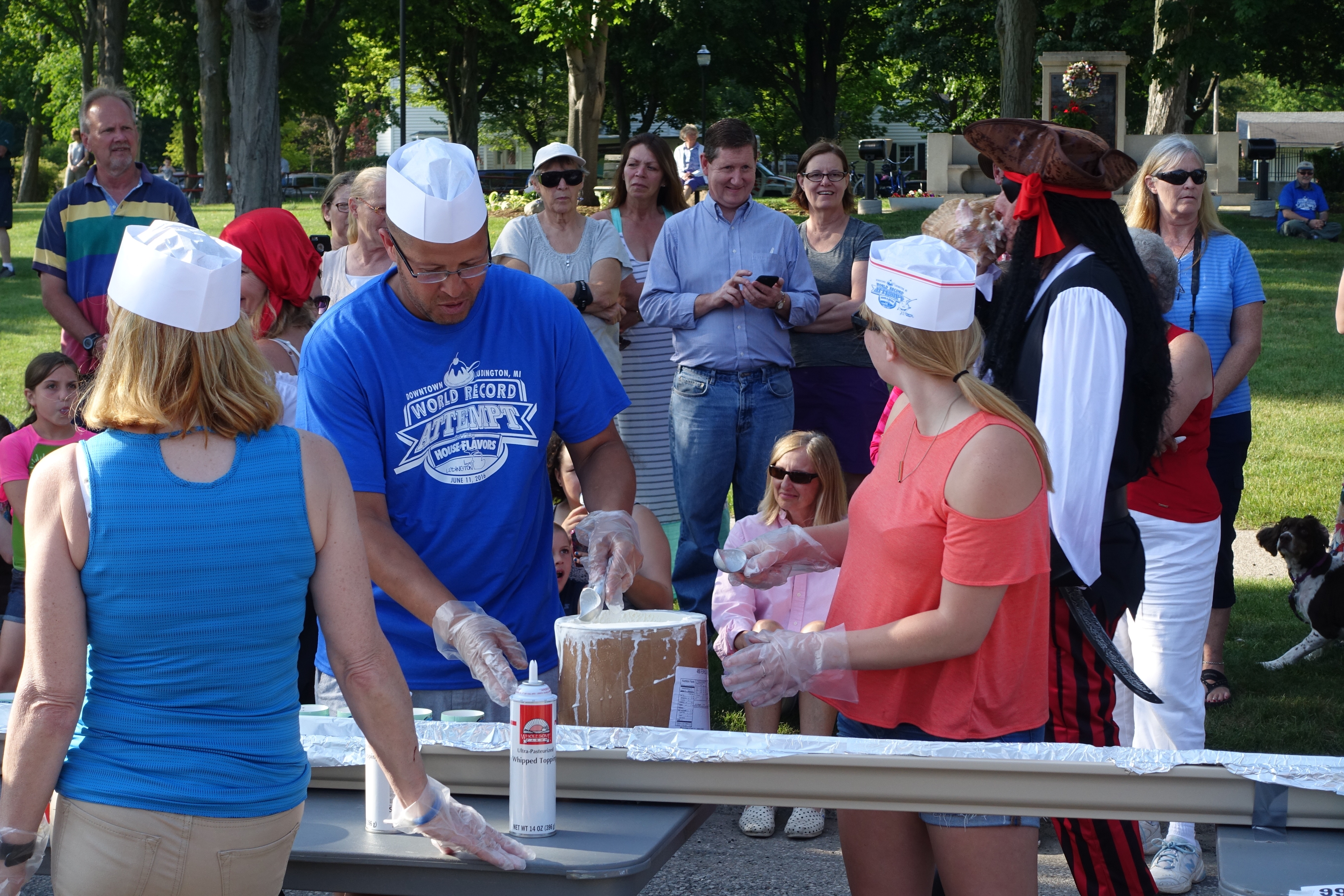 Scooping Out the ice cream at Ludington's World's Largest Sundae Attempt