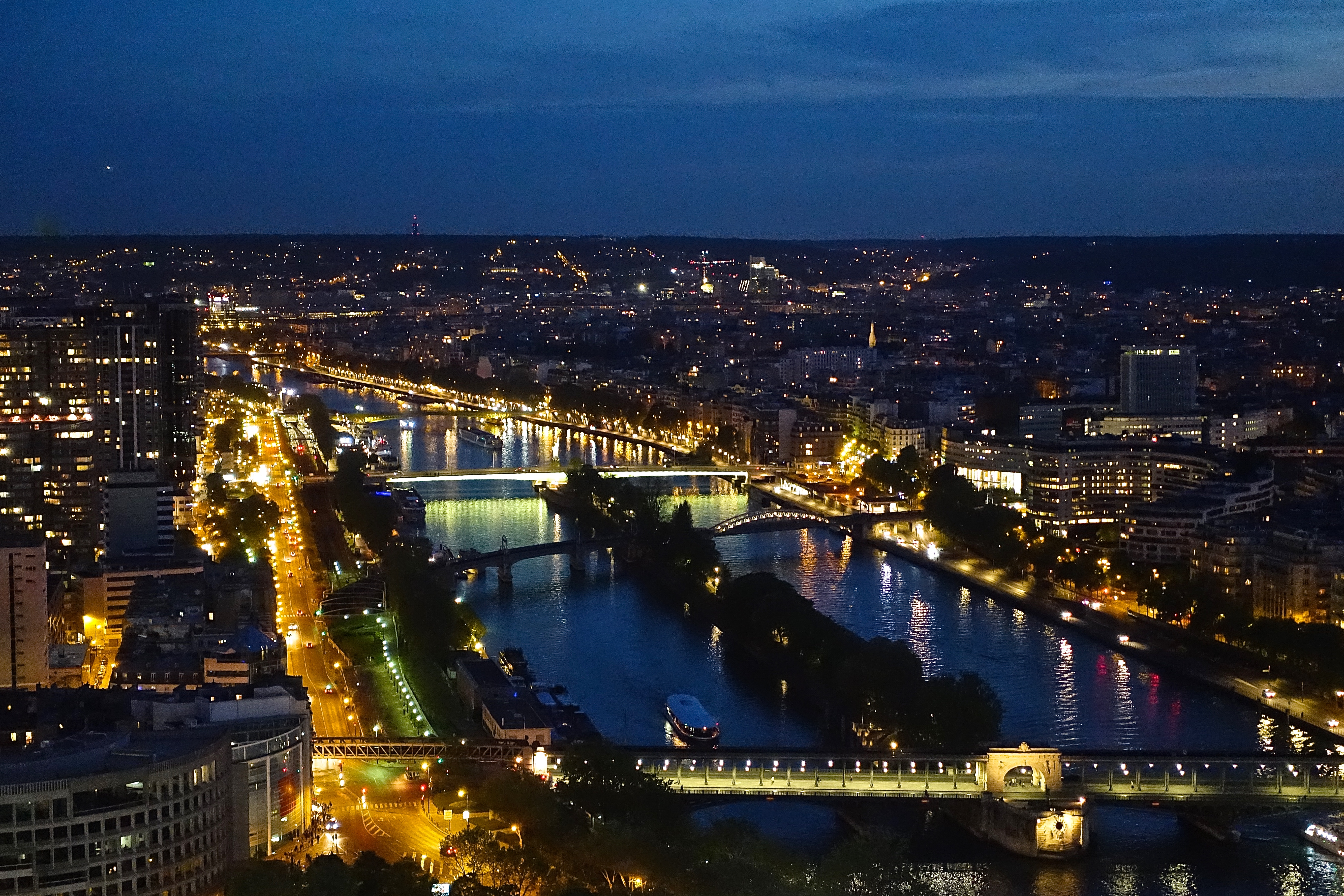 Seine River at Night from Eiffel Tower