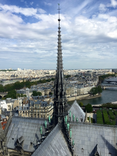 Spire of Notre Dame Cathedral. Paris
