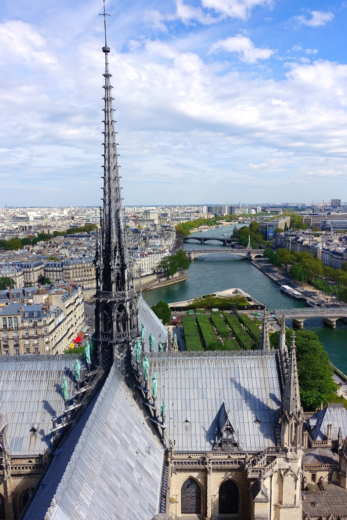 Spire of Notre Dame overlooking The Seine River