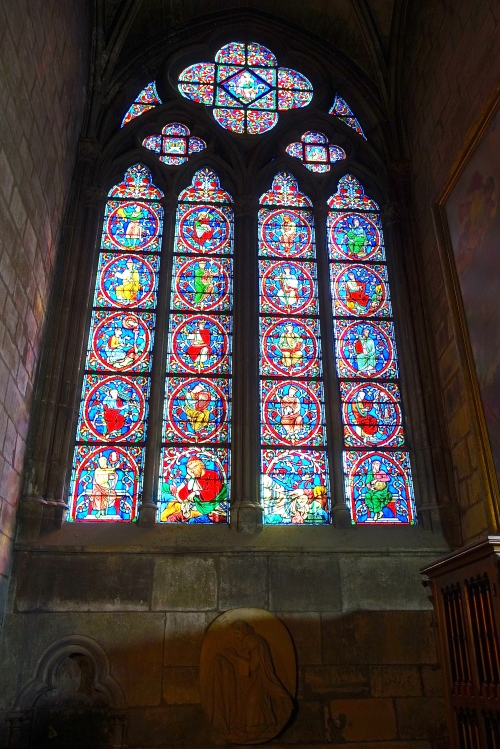 Stained Glass Notre Dame Cathedral. Paris