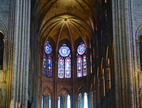 Stained Glass Windows in Notre Dame Cathedral. Paris