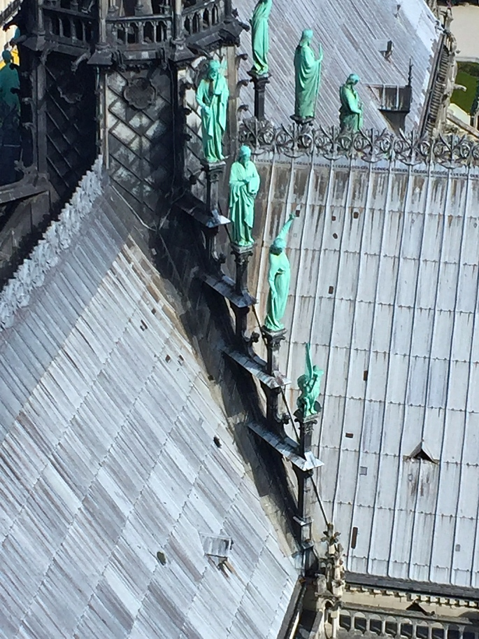 Statues on roof of Notre Dame Cathedral. Paris