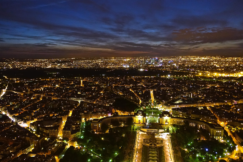 Sunset skyline of Paris from Eiffel Tower