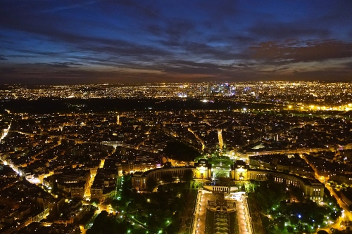 Sunset skyline of Paris from Eiffel Tower