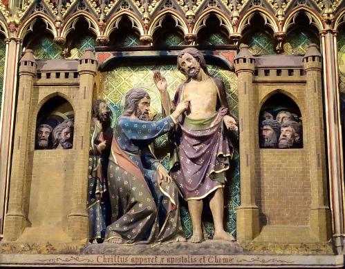 Thomas touching Jesus' side Notre Dame Cathedral. Paris