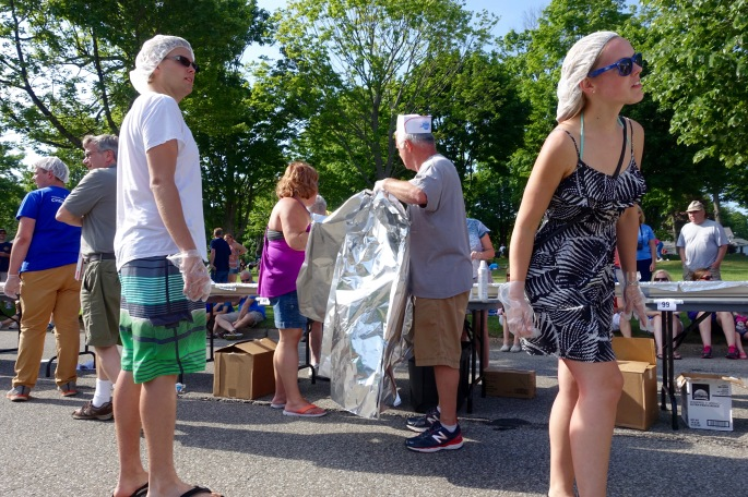 Tinfoil lining gutter at Ludington's World's Largest Sundae Attempt