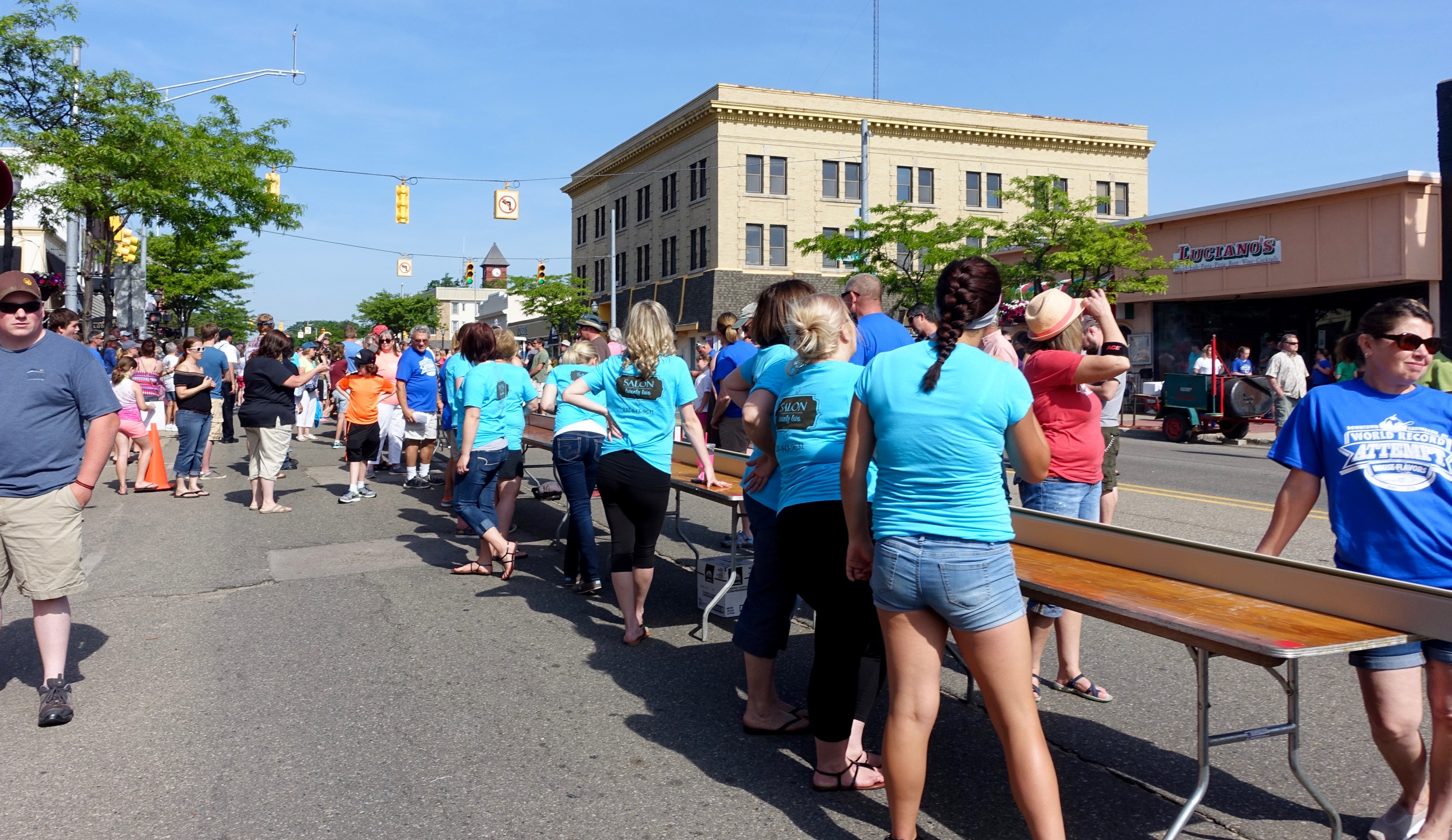 Volunteers at Ludington's World's Largest Sundae Attempt