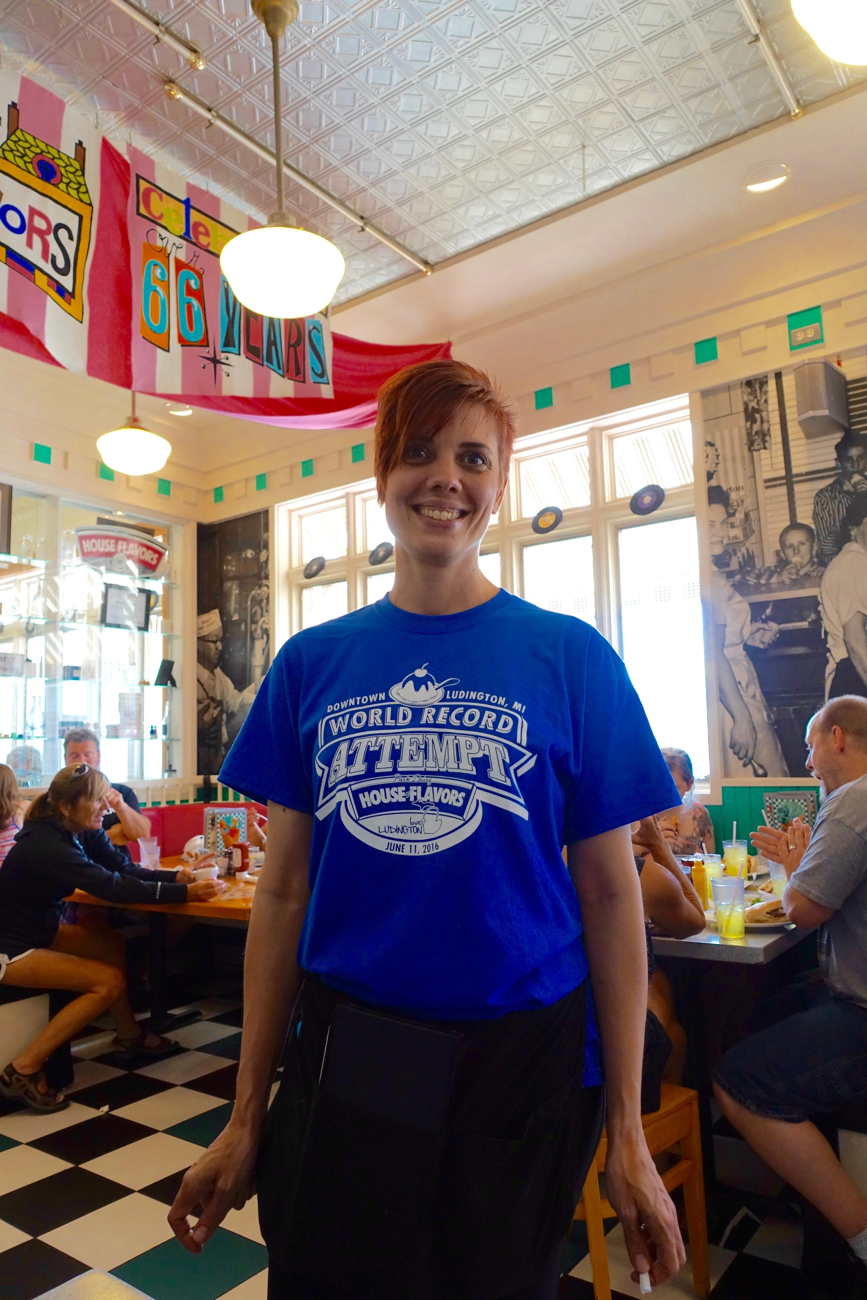 Waitress wearing tee shirt at Ludington's World's Largest Sundae Attempt