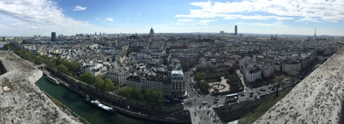 Wide-angle view from South Tower of Notre Dame Cathedral