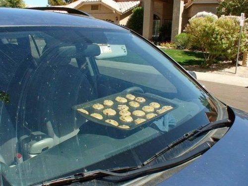 Cookies baking on car dash