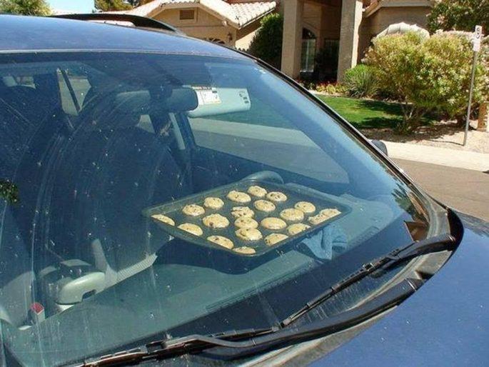 Cookies baking on car dash