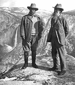 Teddy Roosevelt and John Muir in Yosemite