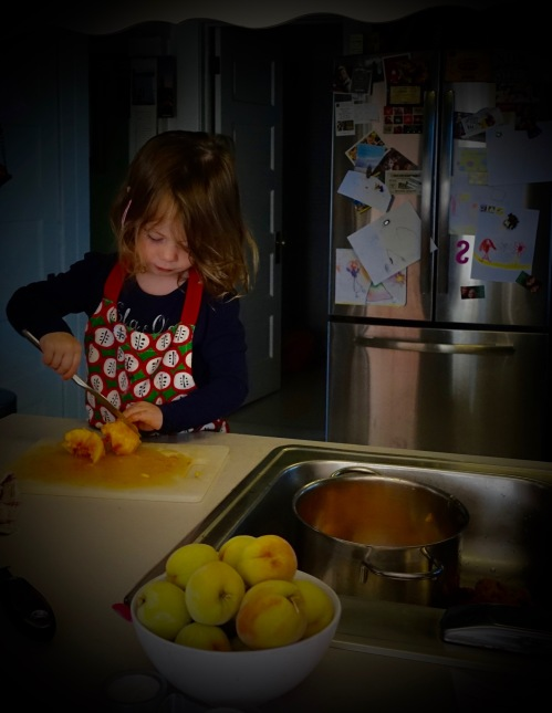 Little Girl helping make peach pies