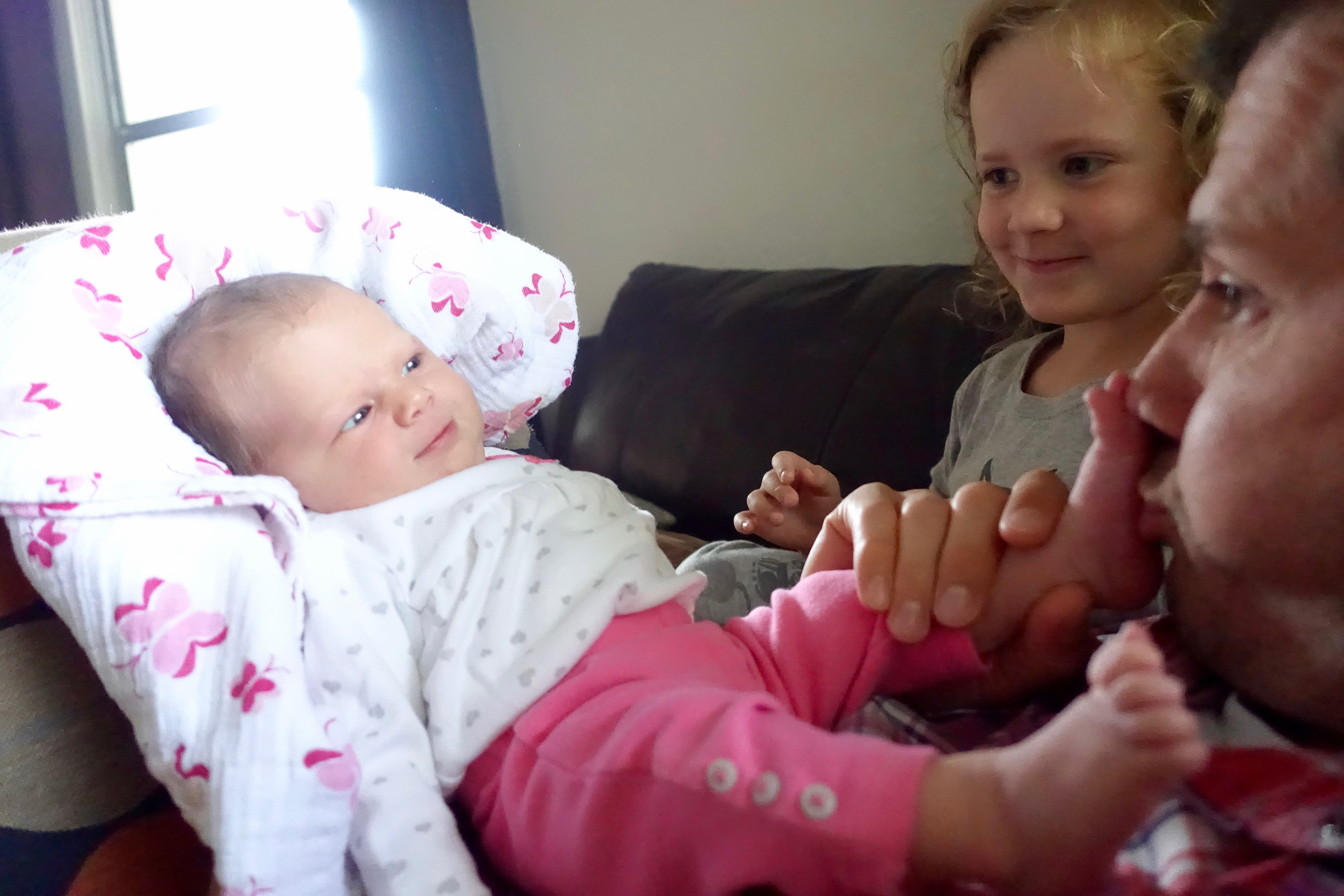 Playing with baby's toes