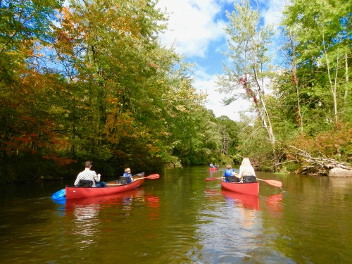 3-canoers-fall-leaves-beginning-to-turn