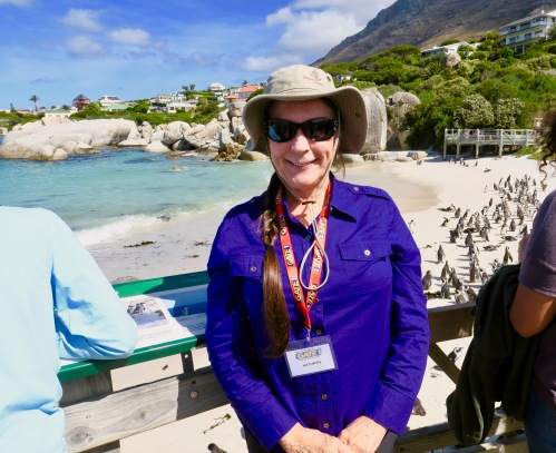 kathi-on-boardwalk-with-african-penguins-at-boulders-south-africa