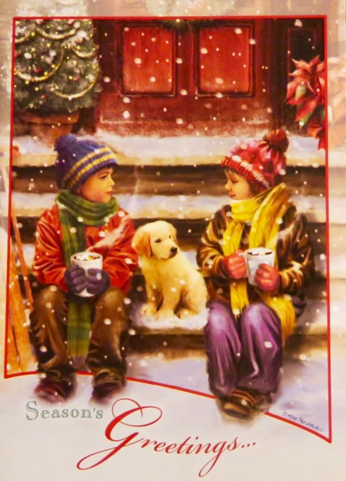 christmas-card-children-drinking-cocoa-on-front-steps