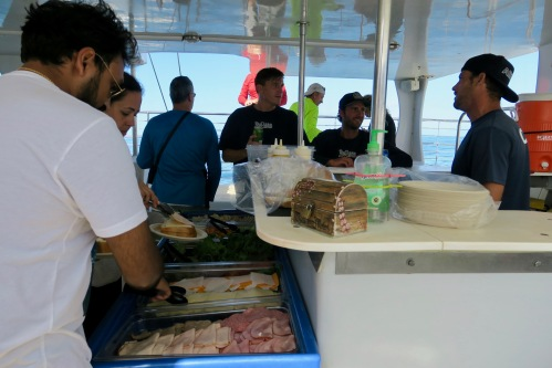 lunch-on-blue-dophin-charter-catamaran