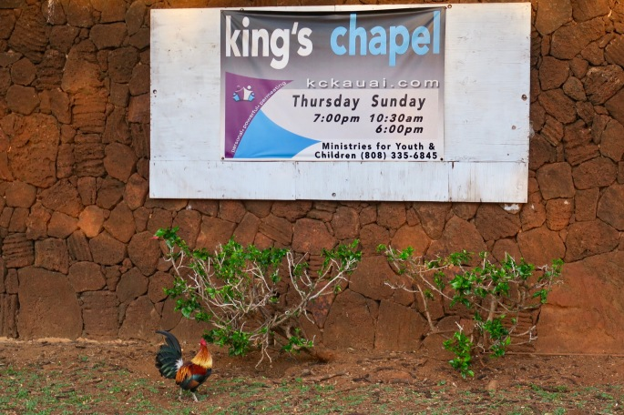 rooster-by-sign-for-kings-chapel-in-kauai