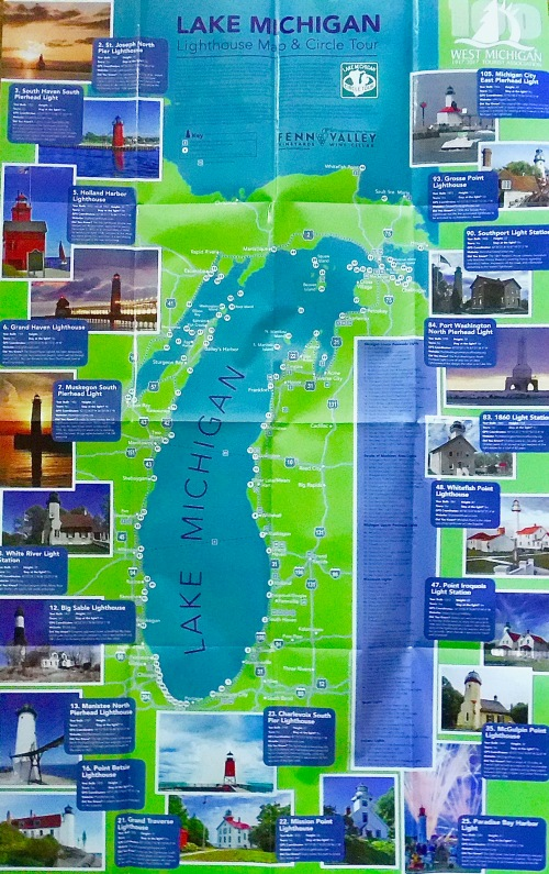 How Many Lighthouses Are There In Michigan Summer Setting - Lake michigan circle tour map